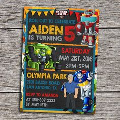 DIY Printable Transformers Rescue Bots Birthday Invitation  *By purchasing you are agreeing with my shop policies*