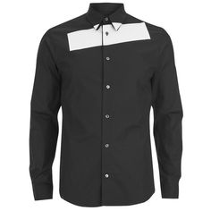McQ Alexander McQueen Men's Stripe Tux Shirt - Darkest Black ($145) ❤ liked on Polyvore featuring men's fashion, men's clothing, men's shirts, men's dress shirts and black