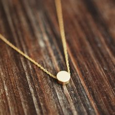 138 Gold Puffy Coin Make-A-Wish Necklace / simple dainty everyday necklace / minimalist jewelry by lustre. $24.00, via Etsy.