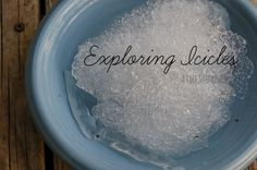 Reggio Invitation :: Exploring Icicles :: Winter Preschool & Toddler Science & Nature :: Ice :: Montessori Sensorial :: From A Life Sustained Science For Toddlers, Preschool Science, Toddler Activities, Learning Activities, Preschool Winter, Reggio Classroom, Outdoor Classroom, Preschool Classroom, Classroom Ideas