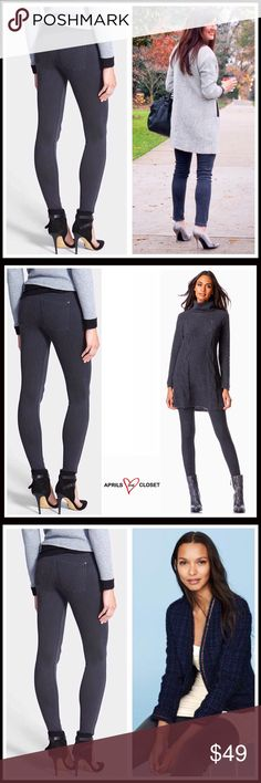 """❗️1-HOUR SALE❗️HUE DENIM LEGGINGS NEW WITH TAGS SIZING- M = 8-10 HUE DENIM LEGGINGS   * Banded waist  * Faux fly  * 2 front faux pockets  * 2 back patch pockets  * Approx 9"""" rise,  30"""" inseam  * Stretch-to-fit style   Material: 75% cotton, 21% polyester, 4% spandex Color-Medium grey  Item# # jeggings jean No Trades - Offers Considered* *Please use the blue 'offer' button to submit an offer HUE Jeans Skinny"""