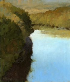 Marcus Bohne, born 1955.   Bend in the River,   oil on panel,  h: 7 x w: 6 in