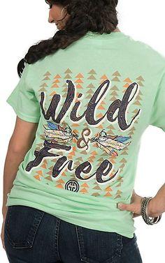 Girlie Girl Originals Women's Mint Green Wild and Free Screen Print Short Sleeve T-Shirt | Cavender's