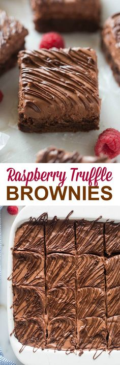 Raspberry Truffle Brownies are decadent and completely heavenly! A fudgy chocolate brownie with whipped raspberry truffle frosting and melted chocolate drizzled on top. | tastesbetterfromscratch.com
