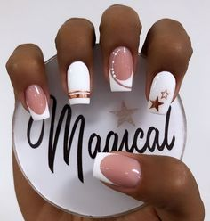 French Manicure Nail Designs, Cute Acrylic Nail Designs, Simple Acrylic Nails, Nail Manicure, Gel Nails, Edgy Nails, Elegant Nails, Classy Nails, Stylish Nails