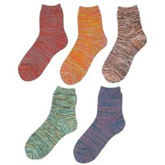 This set of five unisex ankle socks is made from recycled yarn. Each set comes in a random assortment of colors.