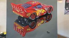 Painting of the star character of the famous cars movie, the painting is from the diecast model scale 1:55, shows all the details, decals and shapes of the original model. It is showcased in a photorealistic painting with acrylics on canvas, measures 50x40cm. Not affiliated to Disney Pixar, original not available for sale, no copies will be issued Race Car Party, Star Character, Lightning Mcqueen, Diecast Models, Disney Pixar, Automobile, Acrylics, Decals, Canvas