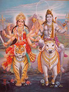Goddess Durga and Lord Shiva Shiva Shakti, Shiva Parvati Images, Durga Images, Shiva Art, Durga Maa, Durga Goddess, Hindu Art, Shri Hanuman, Tantra
