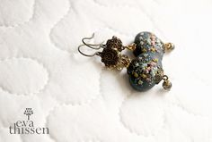 RESERVED for Cynthia. Winter Night. Gorgeous handmade polymer clay earrings. Made to order