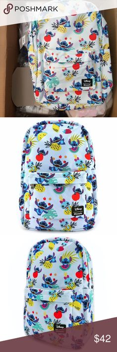 "Loungefly x Stitch, Scrump & Fruit Print Backpack PRINTED NYLON BACKPACK. INTERIOR HAS LAPTOP POCKET. MEASUREMENTS: W: 11.5"" X H: 17.5"" X D: 5"" *PLEASE NOTE, THAT PATTERNS WILL VARY WITH OUR ALL-OVER-PRINT STYLES. NOT EVERY PIECE WILL LOOK IDENTICAL NOR WILL BE AN EXACT MATCH AS TO WHAT IS PICTURED ONLINE. Disney Bags Backpacks"
