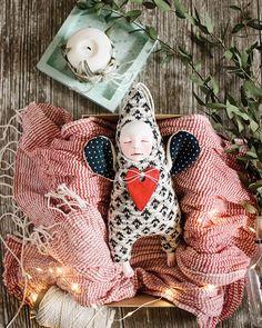 Ooak doll, monochrome nursery decor, minimal angel doll, knitted angel, art doll