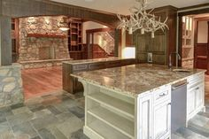 via Georgiana Design Mountain Homes, Construction Design, Kitchen Interior, Kitchen Island, Country, Building, Cabins, Home Decor, Interiors