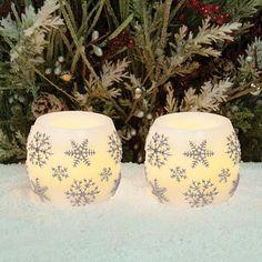 Inglow 2-piece Snowflake Flameless LED Candle Set