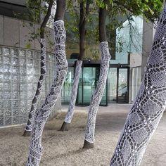 21 trees in #knittedlace at Shell House opposite Spring Street tram stop on…