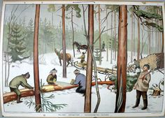 My french-Canadian grandfather was a lumberjack in Canada; this is what I imagined his work was like. History Of Finland, Sea Colour, 23 November, Old Paintings, Spring Colors, Martini, Vintage Posters, Winter Wonderland, Illustrators