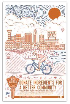 Nonprofit poster by designer Emmily Peterse for Lincoln Bike Kitchen #nonprofit #design