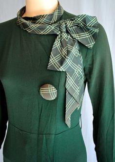 Vintage 1930s Green Deco Dress Belt Button Detail Plaid Cuff Collar NRA Label | eBay