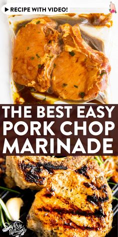 This is the best easy pork chop marinade recipe! It's great for pork chops on the grill, but you can make them on the stove in a grill pan, too. Simple ingredients, pantry staples, and only 5 minutes of prep time! Boneless Pork Chop Marinade, Pork Chop Brine Recipes, Pork Brine Recipe, Easy Pork Chop Marinade, Pork Marinade Recipes, Marinated Pork Chops, Baked Pork Chops, Pork Recipes, Yummy Recipes