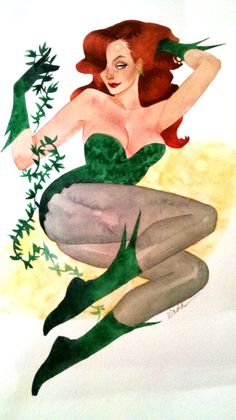 Poison Ivy    Commission.      We were going for Bruce Timm era Ivy, so I plumped her out to pinup girl realness.  After sending it off I realized I forgot to scan it!  Argh.  Luckily, the customer took a shot, and with a little photoshop touchup, I think it almost lends itself to the pinup quality, no? …No…?