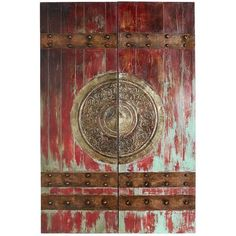 In ancient Chinese culture, lacquered red doors—called a vermilion gate—represented great wealth and luck. And we'd like to think, in modern living room culture, the promise of both still lies behind this hand-painted canvas. Red Home Decor, Asian Home Decor, Chinese Door, Red Wall Art, Porte Cochere, Hand Painted Canvas, Diy Canvas, Unique Wall Art, Decoration