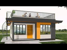3 Bedrooms Small house with roof top - YouTube Tiny House Loft, Modern Bungalow House, Bungalow House Plans, Small Modern House Plans, Modern Small House Design, Tiny House Design, Tiny House Exterior, Modern Exterior House Designs, Roof Top