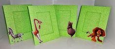 Porta Retrato Verde - Festa de aniversário tema Madagascar - Lindo Centro de Mesa e Presente para convidados.