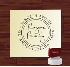 Great way to Brand your products and mailers     Elegant Script Custom Rubber Stamp - Round SELF INKING Return Address Wedding Stationery Family Stamper - Style 9013C. $29.95, via Etsy.