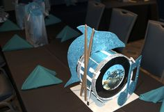 Drum Centerpiece for Aquarium Rock theme, by Glitter Events – NJ Event Planners | Matt's Bar Mitzvah