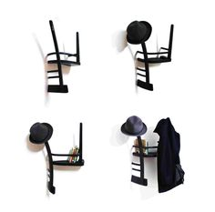 Spanish designer Tess Hill  transforms a wooden chairs into clothes hanger with shelf by simply cutt...