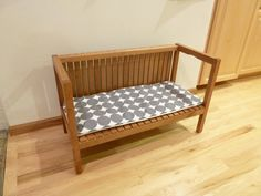 Ikea Molger bench hack. Perfect height for toddlers-- can be converted to original height when they outgrow it.