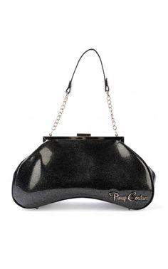 Pinup Couture- Amoeba Handbag in Black Glitter Vinyl and Black Vinyl Trim | Pinup Girl Clothing