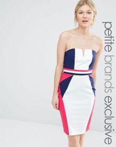 Paper Dolls Petite Bodycon Dress With Colour Block Detail