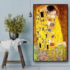 Classic Artist Gustav Klimt kiss Abstract Oil Painting on Canvas Print Poster Modern Art Wall Pictures For Living Room Cuadros Modern Oil Painting, Oil Painting Abstract, Abstract Wall Art, Painting Frames, Painting Prints, Canvas Wall Art, Kiss Painting, Art Print, Wall Prints