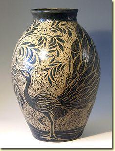 John Egerton sgraffito decoration, stoneware pot