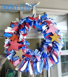Patriotic rag wreath - uses embrodiery hoop base.  Good for July 4th, Memorial Day, Labor Day, etc.