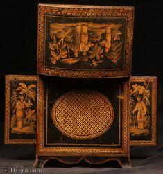 Antique Penwork Table Cabinet Circa 1820