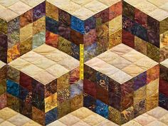 Tumbling Blocks Quilt -- outstanding specially made Amish Quilts from Lancaster (hs4592)