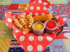 Corndog Crochet Toy Food Set by tammiescreations on Etsy, $8.00
