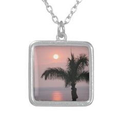 Tropical Pink Sunset and Palm Necklaces