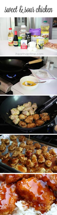 Sweet and sour chicken recipe on iheartnaptime.com ... One pinner says it tastes better than a restaurant!