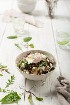 quinoa and poached egg salad.