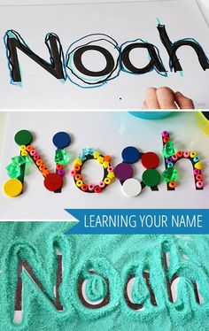 Learning Your Name Activities Three Ideas for Using A Name Card - Kids Names - Ideas fo Kids Names - Learning Your Name three playful ways to help kids learn to recognise their own name using a simple name card. Preschool Names, Preschool Literacy, Literacy Activities, In Kindergarten, Toddler Activities, Preschool Activities, Preschool Projects, Toddler Learning, Early Learning