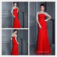 Hot Red 3/4sleevess & floor-length Evening dress make you elegant