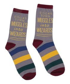 Love this Harry Potter 'Books Turn Muddle Into Wizards' Socks - Women on #zulily! #zulilyfinds #harrypotter #socks #harrypottersocks #muggles #wizards