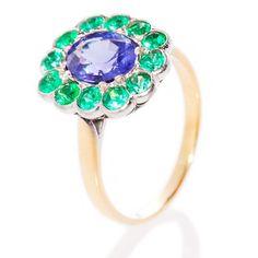 Tanzanite and Emerald Daisy ring