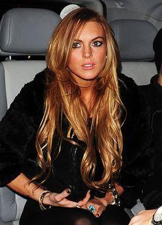 Lindsay Lohan lovely long red hair
