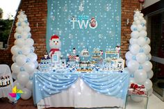 Party dessert / candy table decor and backdrop (Winter Wonderland theme), specially designed by ParteeBoo - The Party Designers Winter Wonderland Decorations, Winter Wonderland Birthday, Winter Birthday, Frozen Birthday Party, First Birthday Parties, Birthday Party Themes, Birthday Ideas, Frozen Party, 5th Birthday
