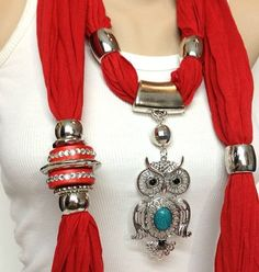 red jewelry scarf I saw a teacher with something similar a couple of weeks ago and it was SO cool! Scarf Necklace, Fabric Necklace, Scarf Jewelry, Fabric Jewelry, Red Jewelry, Jewelery, Fashion Accessories, Fashion Jewelry, Owl Pendant