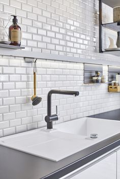 Metro White, Sink, Backsplash, Home Decor, Mosaics, Sink Tops, Vessel Sink, Decoration Home, Room Decor