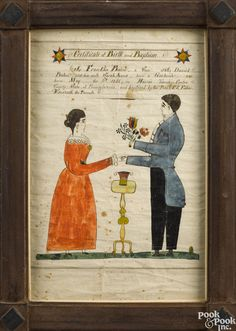 "Realized Price: $9000 Henry Young (Pennsylvania, 1792-1861), watercolor on paper fraktur birth and baptismal certificate for Franklin Bohn, b. May 6th 1855, depicting his parents Daniel and Sarah Anna clutching a bouquet, 11 3/4"" x 7 3/4"""